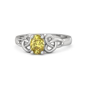 Oval Yellow Sapphire Sterling Silver Ring