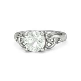 Round Green Amethyst 14K White Gold Ring