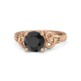 Round Black Diamond 18K Rose Gold Ring