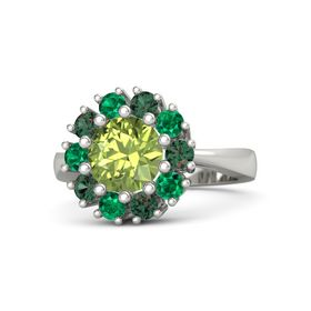 Round Peridot 14K White Gold Ring with Alexandrite & Emerald