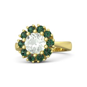 Round Green Amethyst 14K Yellow Gold Ring with Alexandrite