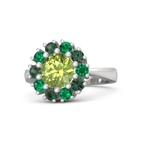 Round Peridot Sterling Silver Ring with Emerald & Alexandrite