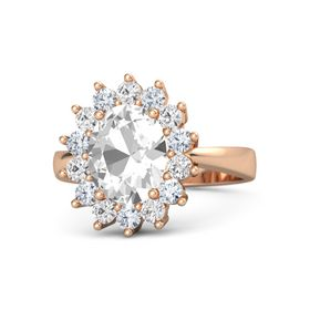 Oval Rock Crystal 14K Rose Gold Ring with Diamond & White Sapphire