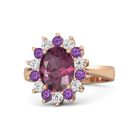 Oval Rhodolite Garnet 14K Rose Gold Ring with White Sapphire and Amethyst