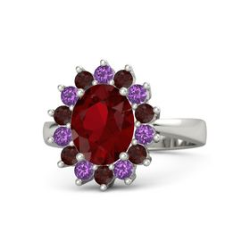 Oval Ruby 14K White Gold Ring with Red Garnet and Amethyst