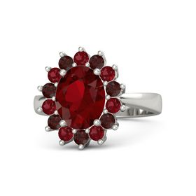 Oval Ruby 14K White Gold Ring with Red Garnet and Ruby