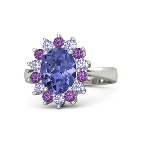Oval Tanzanite 14K White Gold Ring with Tanzanite & Amethyst