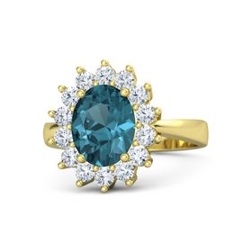 Oval London Blue Topaz 14K Yellow Gold Ring with Diamond