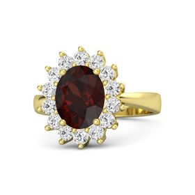 Oval Red Garnet 14K Yellow Gold Ring with White Sapphire