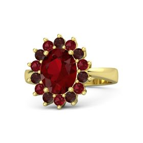Oval Ruby 14K Yellow Gold Ring with Ruby and Red Garnet