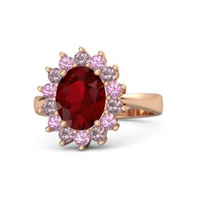 Oval Ruby 18K Rose Gold Ring with Pink Tourmaline and Rhodolite Garnet