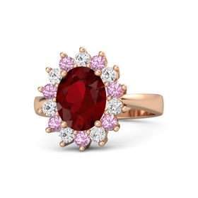 Oval Ruby 18K Rose Gold Ring with Pink Tourmaline and White Sapphire