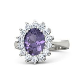 Oval Iolite 18K White Gold Ring with Diamond