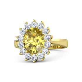 Oval Yellow Sapphire 18K Yellow Gold Ring with Diamond