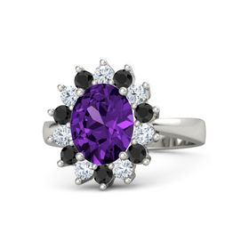 Oval Amethyst Palladium Ring with Black Diamond & Diamond