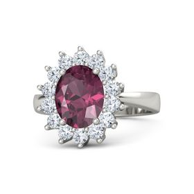 Oval Rhodolite Garnet Palladium Ring with Diamond