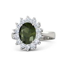 Oval Green Tourmaline Palladium Ring with Diamond
