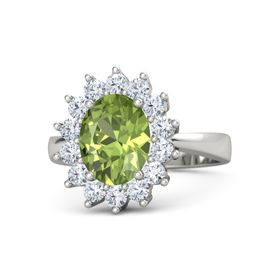 Oval Peridot Palladium Ring with Diamond