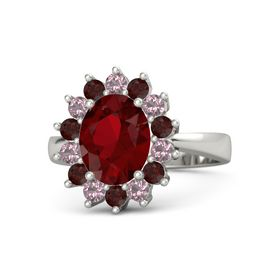 Oval Ruby Platinum Ring with Red Garnet and Rhodolite Garnet