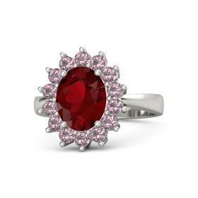 Oval Ruby Platinum Ring with Rhodolite Garnet