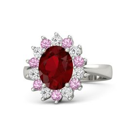 Oval Ruby Platinum Ring with Pink Tourmaline and White Sapphire