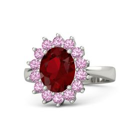 Oval Ruby Platinum Ring with Pink Tourmaline