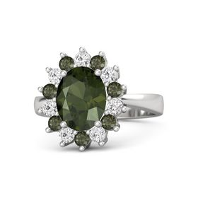 Oval Green Tourmaline Sterling Silver Ring with Green Tourmaline & White Sapphire
