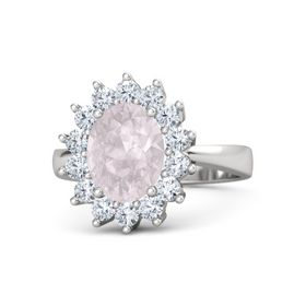 Oval Rose Quartz Sterling Silver Ring with Diamond