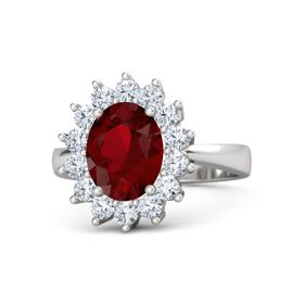 Oval Ruby Sterling Silver Ring with Diamond