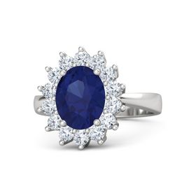 Oval Blue Sapphire Sterling Silver Ring with Diamond