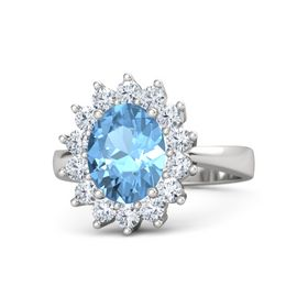 Oval Blue Topaz Sterling Silver Ring with Diamond