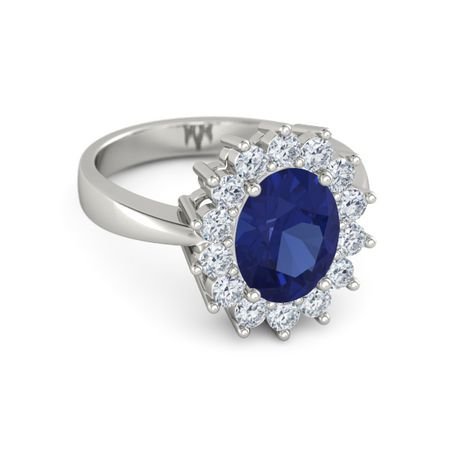Oval Sapphire 14K White Gold Ring with Diamond | Oval ...