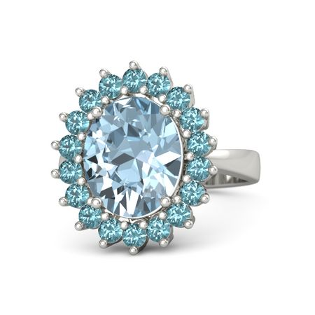 4ba5470e948 Oval Aquamarine 14K White Gold Ring with London Blue Topaz