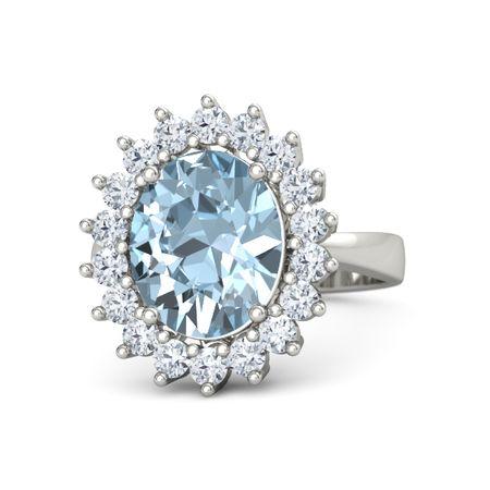 5ab9dcd1b2b Oval Aquamarine 14K White Gold Ring with Diamond
