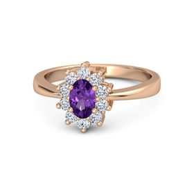 Oval Amethyst 14K Rose Gold Ring with Diamond