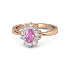 Oval Pink Sapphire 14K Rose Gold Ring with White Sapphire and Aquamarine