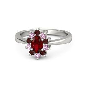 Oval Ruby 14K White Gold Ring with Red Garnet and Pink Sapphire