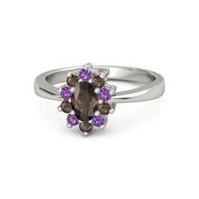 Oval Smoky Quartz 14K White Gold Ring with Amethyst & Smoky Quartz