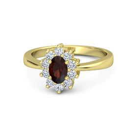 Oval Red Garnet 14K Yellow Gold Ring with Diamond