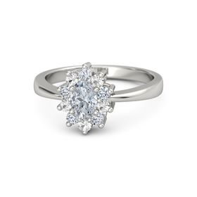 Oval Diamond 18K White Gold Ring with Diamond and Rock Crystal