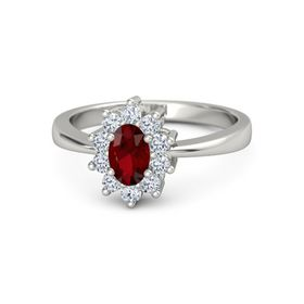 Oval Ruby Palladium Ring with Diamond