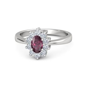 Oval Rhodolite Garnet Sterling Silver Ring with Diamond