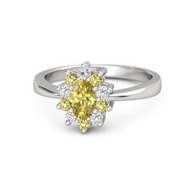 Oval Yellow Sapphire Sterling Silver Ring with White Sapphire and Yellow Sapphire