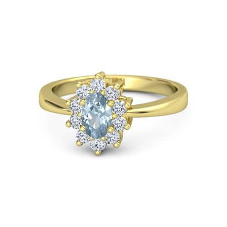 242011d141f Oval Aquamarine 14K Yellow Gold Ring with Diamond