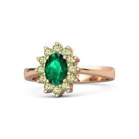 Oval Emerald 14K Rose Gold Ring with Peridot