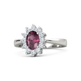 Oval Rhodolite Garnet 14K White Gold Ring with Diamond
