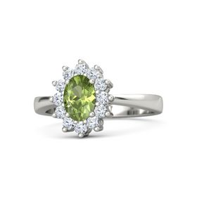 Oval Peridot 14K White Gold Ring with Diamond