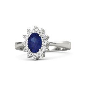 Oval Sapphire 14K White Gold Ring with White Sapphire