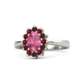 Oval Pink Tourmaline 14K White Gold Ring with Ruby & Red Garnet