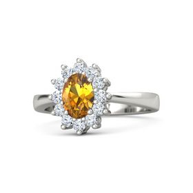 Oval Citrine 18K White Gold Ring with Diamond